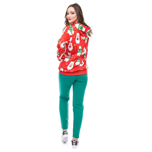 Christmas Fashion Bear Print Pullover Sweater