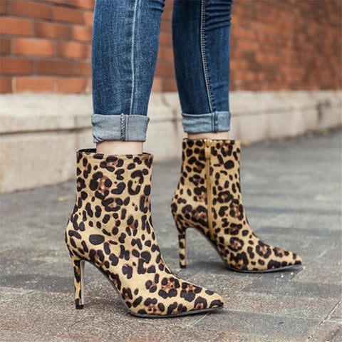 Fashion Leopard High   Heel Ankle Boots