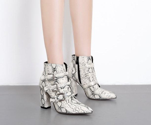 Fashion Leopard-Print Snake High Heel Boots