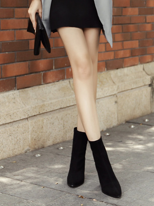 Fashion Low Heel Pure Colour Pointed Boots