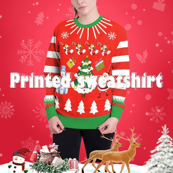 Christmas Costume Christmas Tree Gift Box Printed Sweater