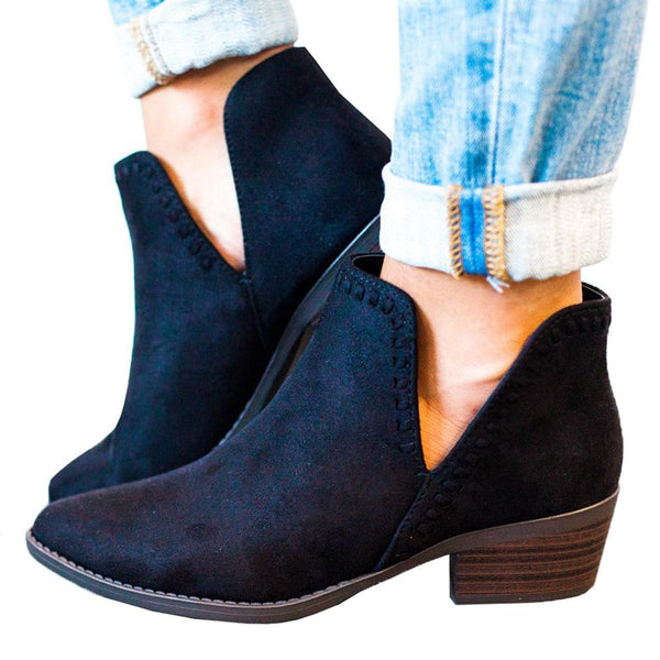 Fashion New Deep V Middle Ankle Boots