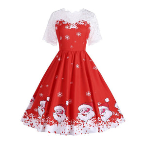 Sexy Christmas Short Sleeve Lace Splicing Printed Colour Mini Dresses