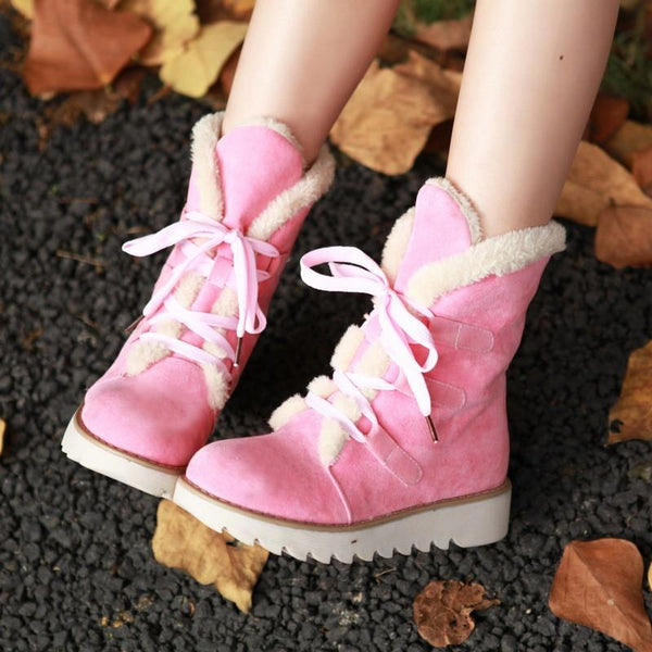 Fashion Plush Lace High Boots
