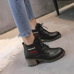 Fashion Casual Straps With Thick Martin Boots
