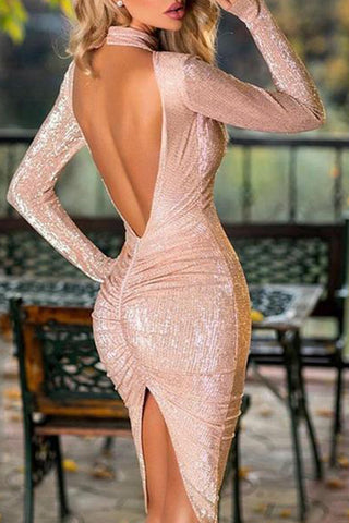 Sexy Backless Plain Bodycon Dress