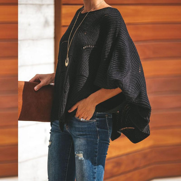 Fashion Wave Hem Long Batwing Sleeve Hollow Out Elegant Sweaters