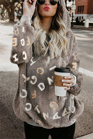 Autumn And Winter   Fashion Printing Letters Long-Sleeved Cap Tops