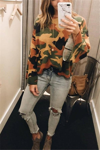 Fashionable Loose Camouflage Corduroy T-Shirt