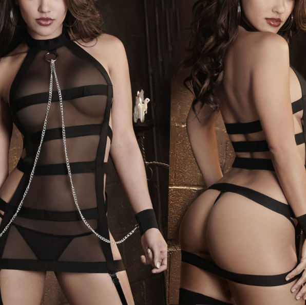 Black Gauze Sexy Perspective Open Crotch Sexy Lingerie