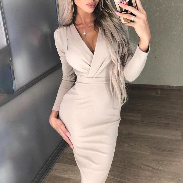 Fashion Pure Colour V Neck Long Sleeve Bodycon Dresses