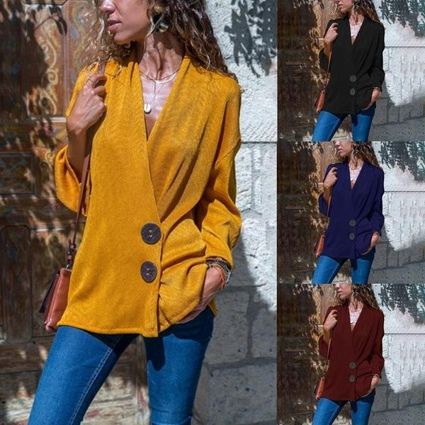 Pure Color Sexy Deep V  Neck Button Down Long Sleeved Blouse