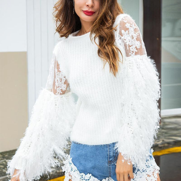 Fringed Plush Perspective Lace Embroidered Flower Sweater