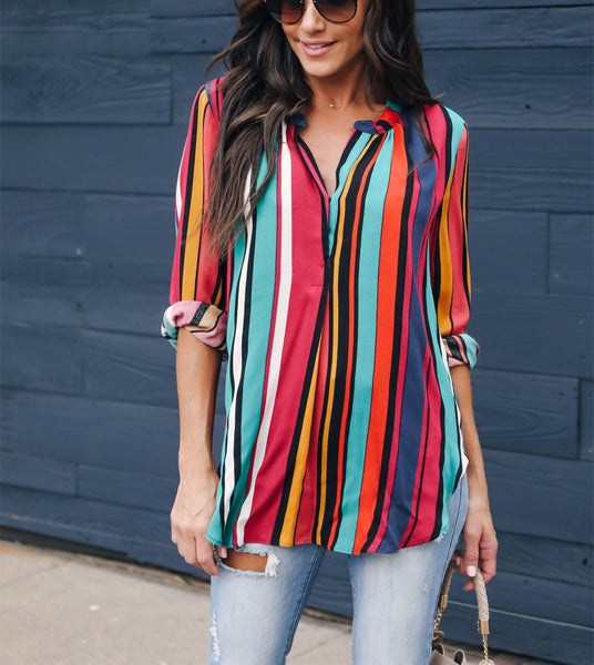 Autumn And Winter   Fashion Rainbow Bar Printing Long-Sleeved Shirts