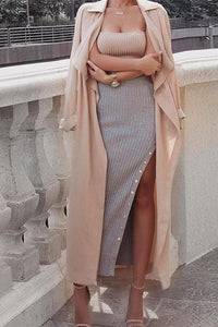Fashion Knitted Buttons Slit Skirt