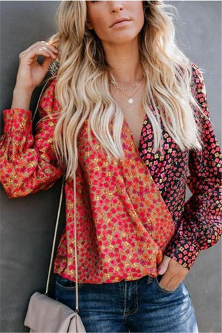 Autumn And Winter   Fashion Prints Splice Deep V Long-Sleeved Shirts