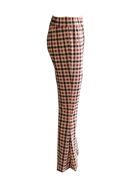 Slit  Gingham  Elegant  Pants