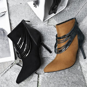 Suede Thin Heel Zipper Ankle Boots