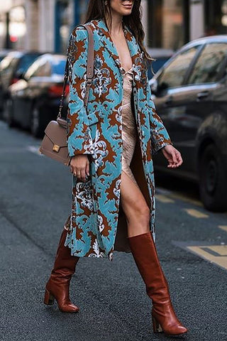 Vintage Floral Printed Loose Long Coat