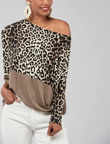 Fashion Casualsexy Off The Shoulder  Matching Leopard Print Blouses T-Shirt