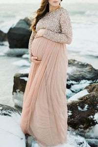 Maternity Long Sleeve Party Dress Gown Sequins Baby Shower Dress