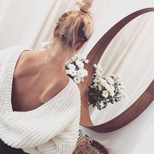 Casual Pure Color Double V-Neck Sexy Sweater