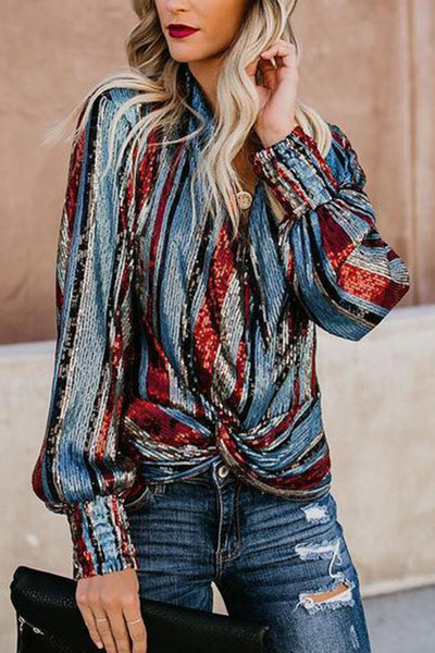 Fashion V Neck Loose Striped Sequins Shirt
