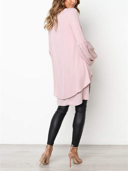 Casual Pure Color Slim Hubble Bubble Sleeve Irregular Hem Blouse