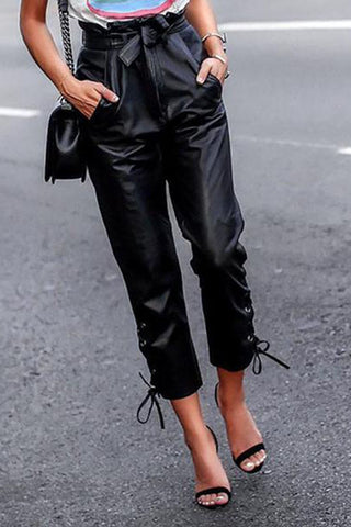 Fashion High-Waist Pure Colour Leather Pants
