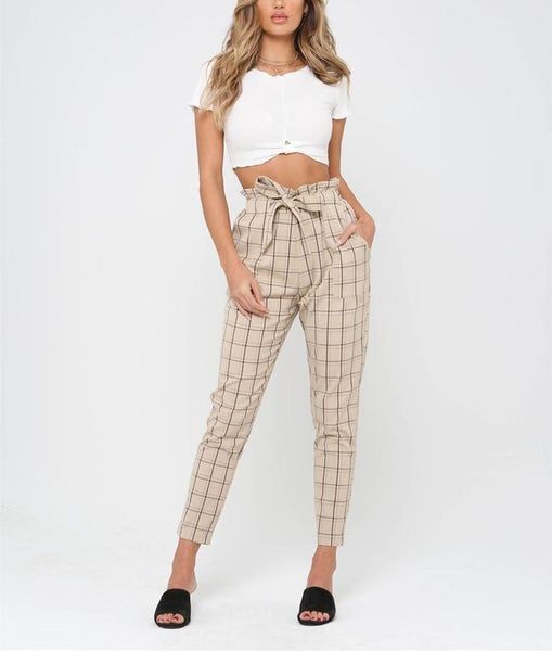 Casual Plaid High Waisted Trousers Pencil Pants