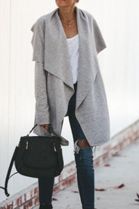 Lapel  Asymmetric Hem  Plain Cardigan