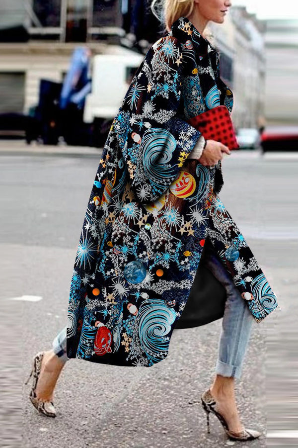 Elegant Fashion   Starry Sky Printed Long Sleeve Coat
