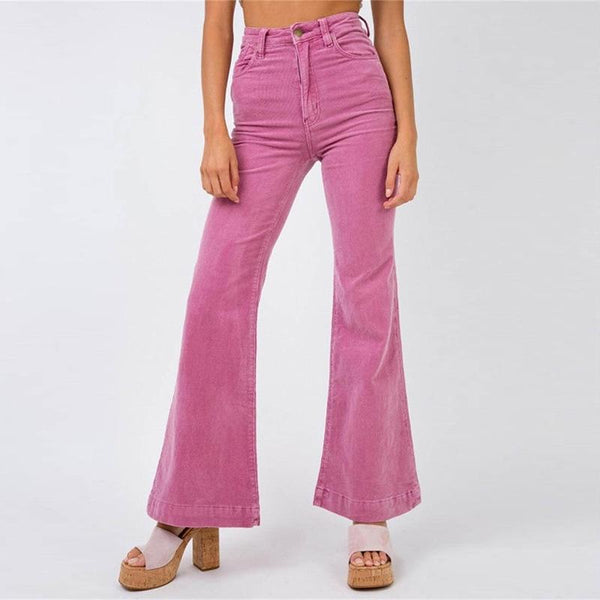 Casual High-Waist Corduroy Zipper Pleated Pants