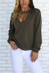Casual Sexy Pure Color Loose V-Neck Hooded Fleece