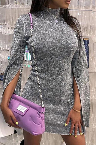 High Neck  Slit  Plain  Long Sleeve Bodycon Dresses