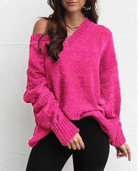 Casual Pure Color Joker V-Neck Chenille Knitting Sweater