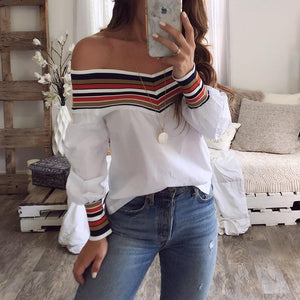 Elastic Collar Off Shoulder Long Sleeve Patchwork Blouses