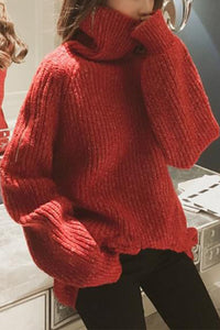 Fashion Zipper   Turtleneck Loose Solid Color Long Sweater
