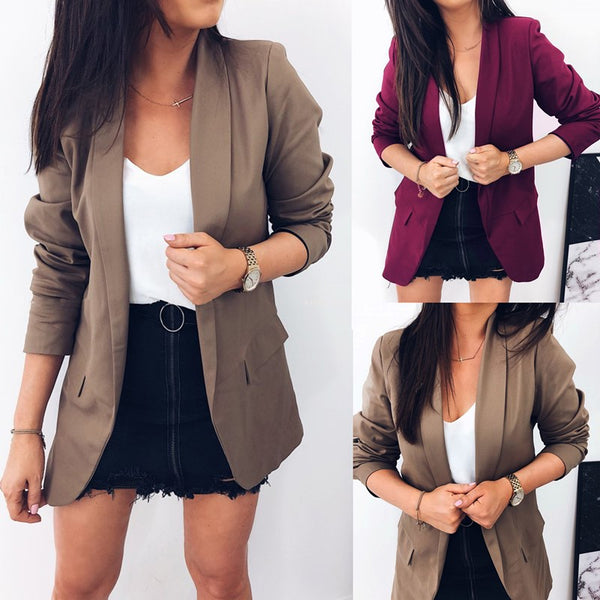 Casual Pure Color   Elegant Contracted Suit Jacket Lapels