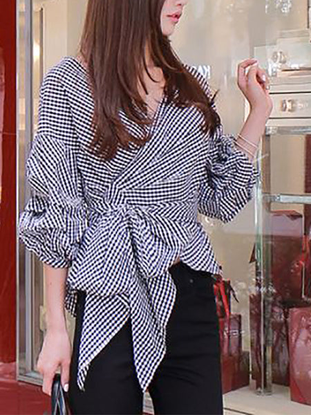 Fashion V Neck Puff Sleeve Cross Strap Pure Colour Shirt