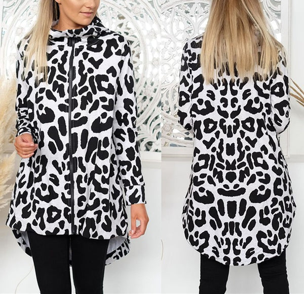 Casual Loose Leopard Print Zipper Long Coat