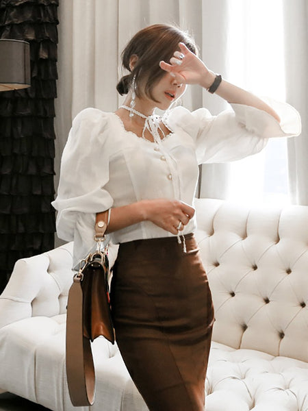 Fashion Puff Sleeve Lace Shirt And Slim Slit Fishtail Skirt