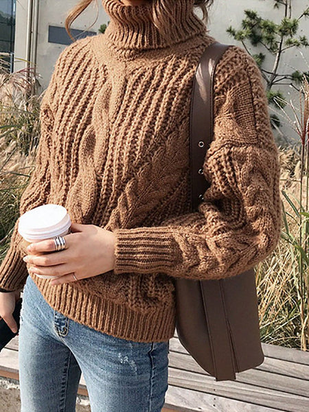 Casual High Turndown Collar Loose Pure Colour Knitted Sweater