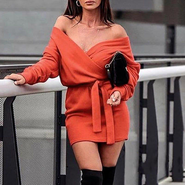 Sexy Boat Neck Long Sleeve With Belt Mini Dresses