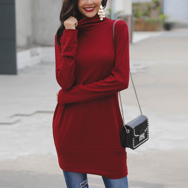 Fashion Pure Colour High Collar Warm Sweater Dresses