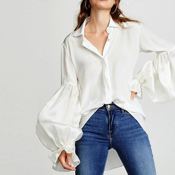 Fashion Pure Colour Splicing Loose Long Sleeve Shirt