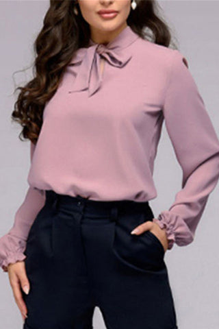 Sexy Solid-Color Bow Long-Sleeved Shirt