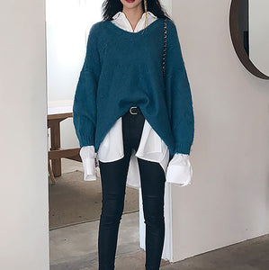 Fashion V Neck Pure Colour Knitted Sweater