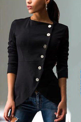 Chic diagonal button solid color jacket