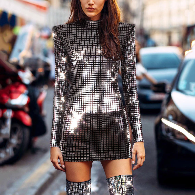 Fashion Sequins Long Sleeve High Collar Bodycon Dresses